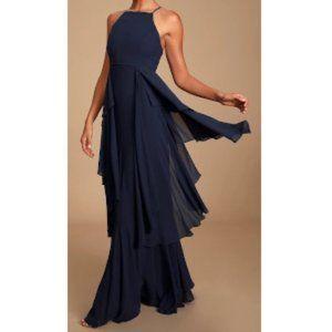 Lulu's Anitra Ruffled Sleeveless Maxi Dress XS